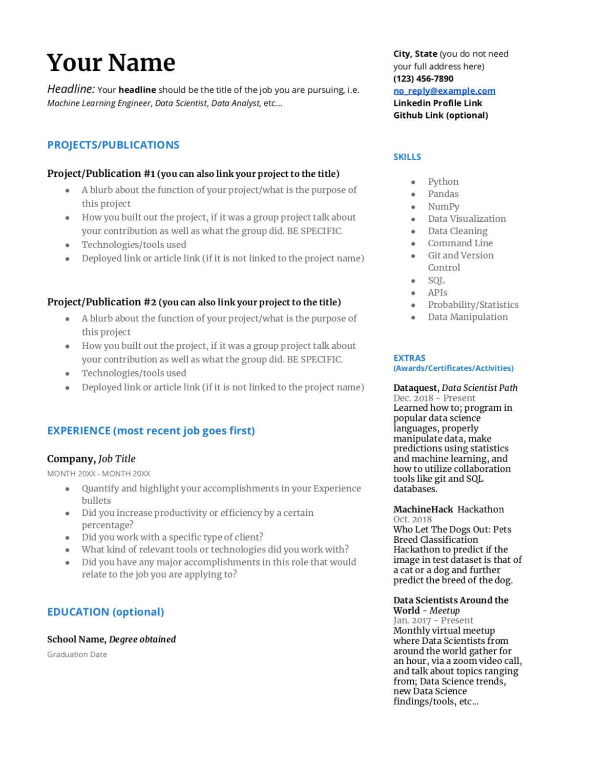 Build a resume data science resume template 1 build a