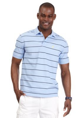 Nautica Noon Blue Short Sleeve Striped Performance Deck Shirt