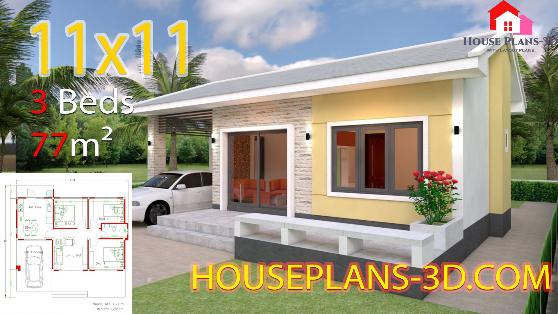 Simple House Design Plans 11x11 With 3 Bedroomsthe House Has Car Parking And Garden Living Room Din Simple House Design Small House Design Plans House Design