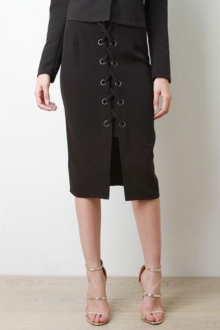 grommets corset lace up midi skirt  jp murga's  2  lace