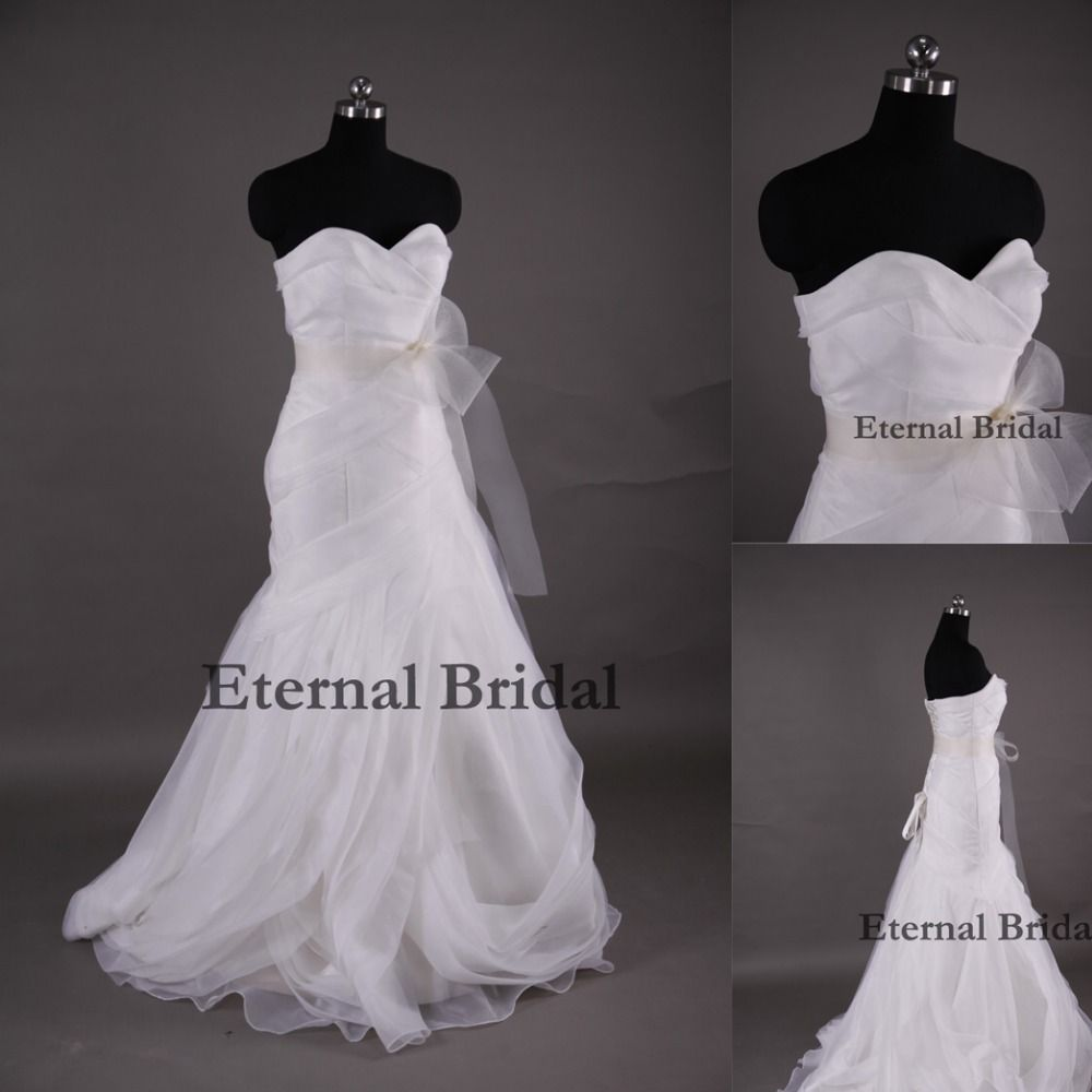 Vestidos De Noiva Mermaid Court Train Tassel Organza Pleat Sweetheart Long Floor-Length Biggest Bow Sexy Backless Wedding Dress $175.23