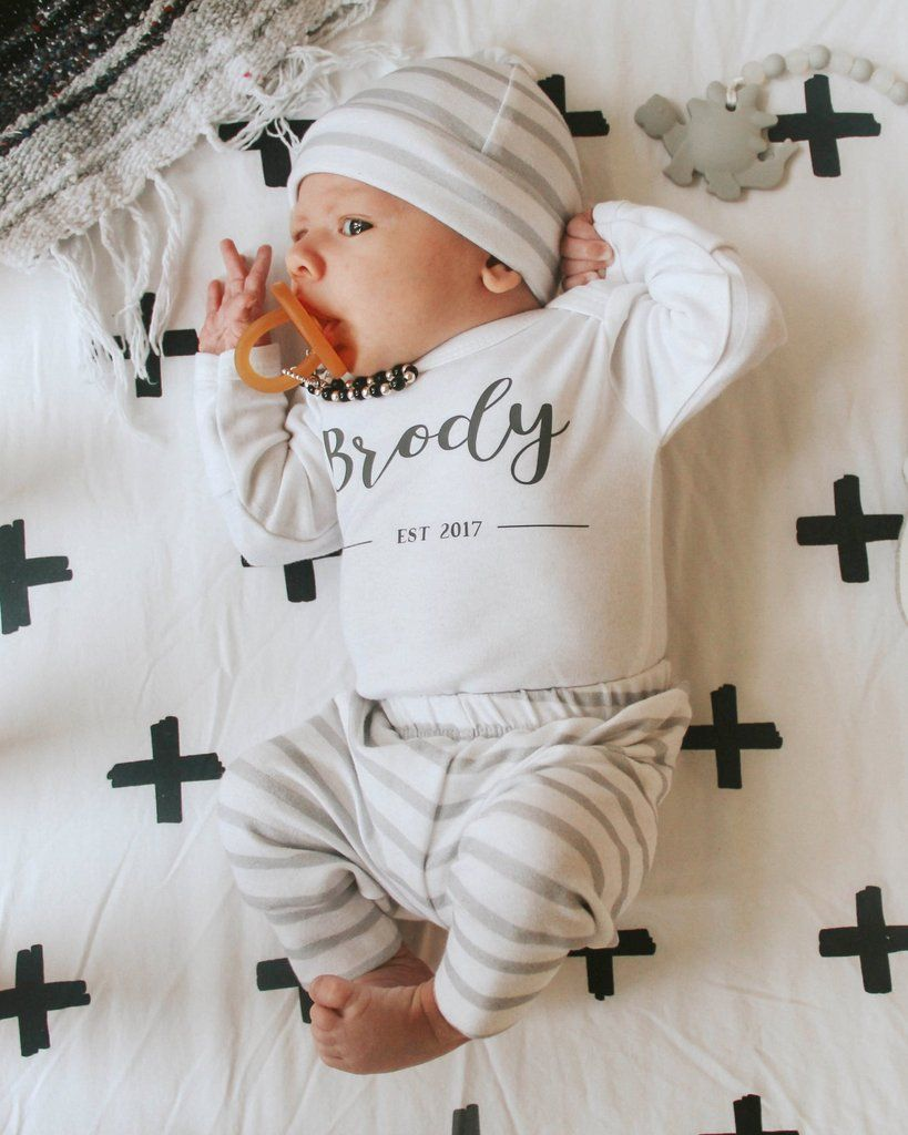 Baby Boy Take Home Outfit : outfit, Newborn, Established, Bundle, White, Stripe, Outfits,, Coming, Outfit