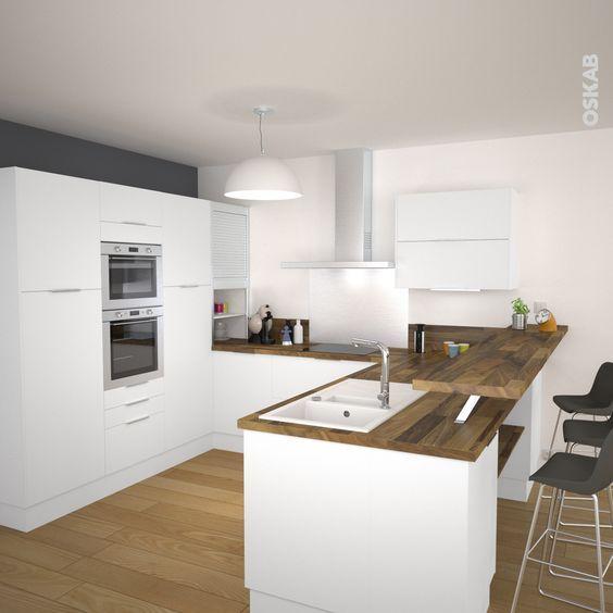 Cuisine scandinave blanche finition mate avec plan de travail en - Renovation Meuble En Chene