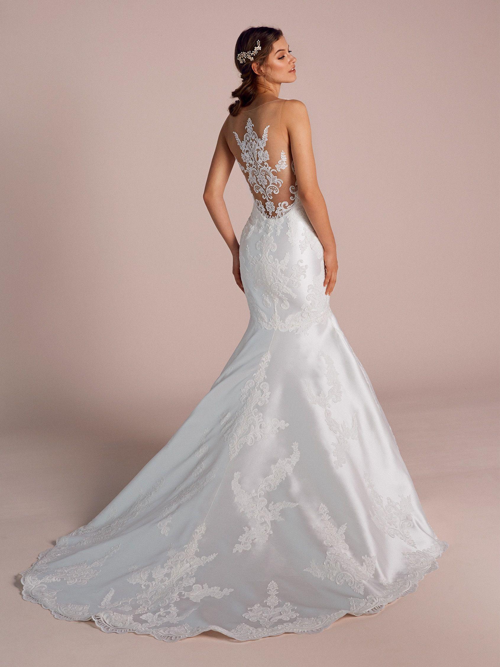 1f7601f43b18 Mermaid wedding dress with illusions and bateau neckline. Visit. March 2019