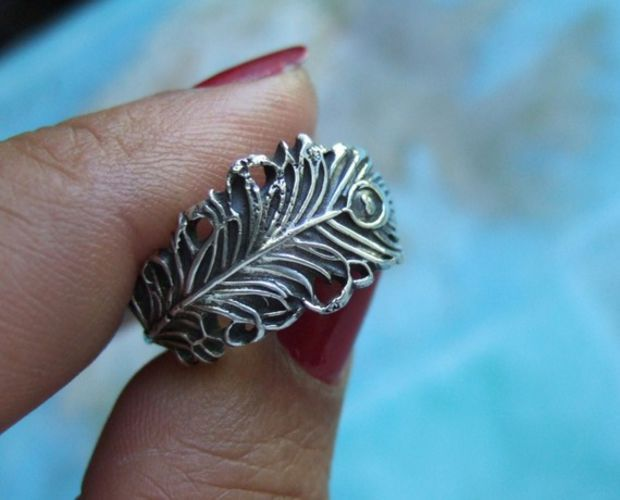 Peacock Jewelry, Peacock Feather Jewelry, Silver Peacock Feather Ring, Lucky Peacock Feather Ring, Any Size 4 5 6 7 8 9 10 11 12 13 14 15 on Wanelo