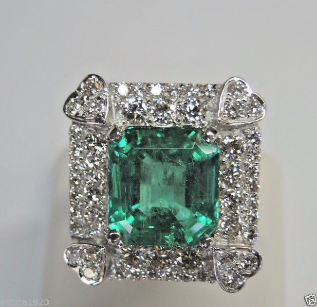 Antique Diamond Engagement Rings Colombian Emerald Ring 18k White Gold Size 8 25 Uk