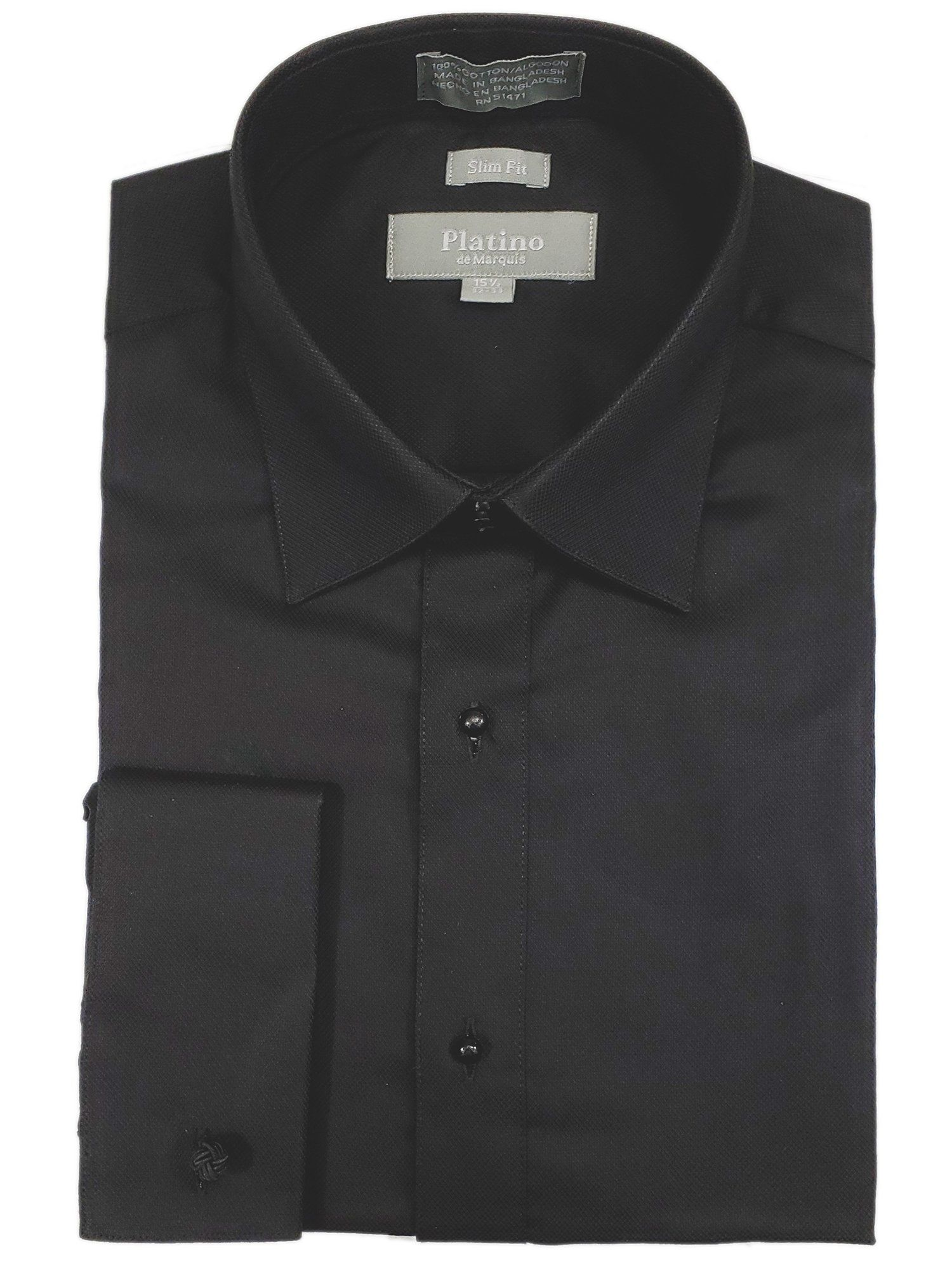 Men's Textured Slim Fit French Cuff Lay down Cotton Tuxedo Shirt – Black / 14.5 Neck 32/33 Sleeve