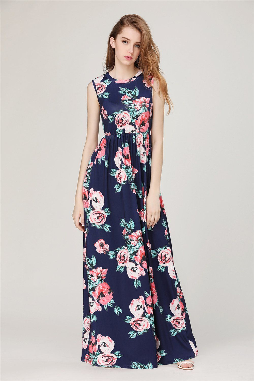 Bepo womens spring printed long dress sleeveless classic