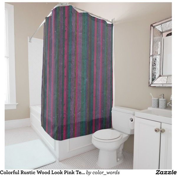 Colorful Rustic Wood Look Pink Teal Purple Vibrant Shower Curtain ...