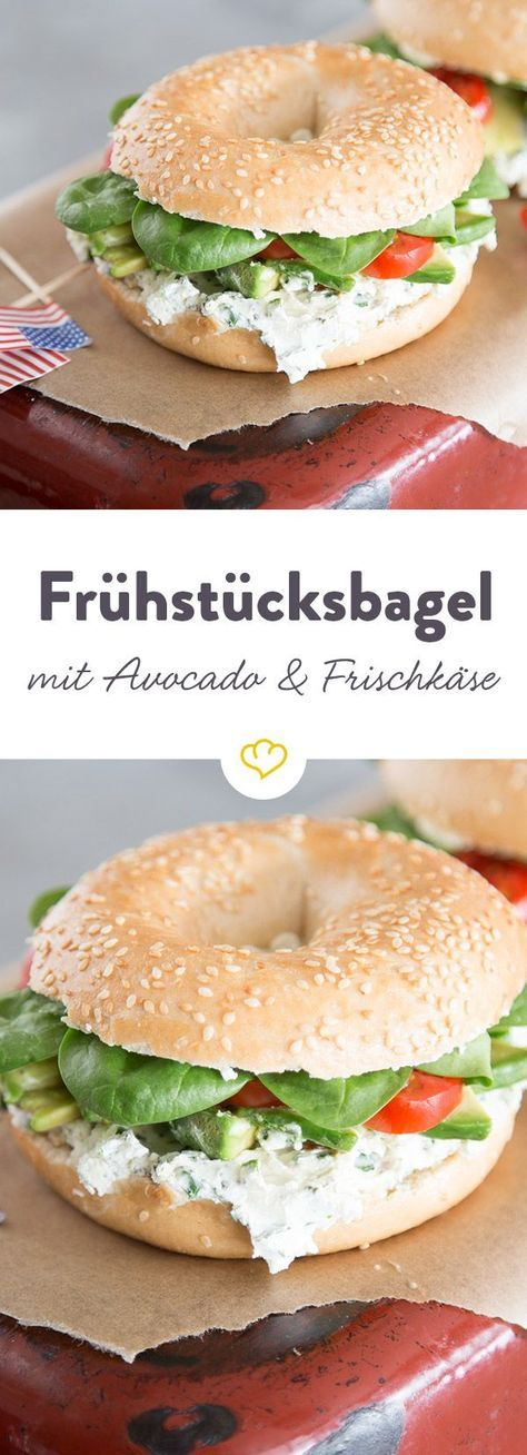 Avocado-Frischkäse-Bagel - der herzhafte Sandwich-Kringel