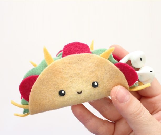 Felt Taco Diy Earphones Holder No Sewing Tutorial By 2 Cats