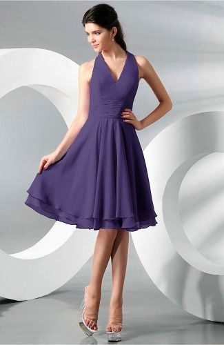 Royal Purple Bridesmaid Dress - Simple A-line Halter Zip up Chiffon ... 8d1ff7e86