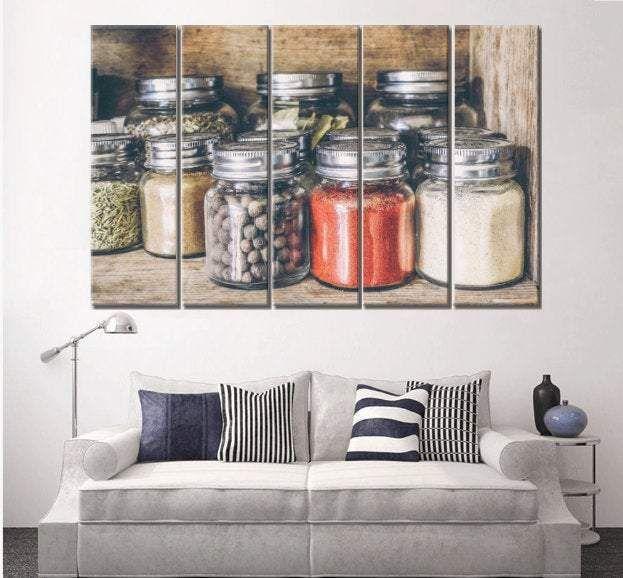 Photo of Kitchen Wall Art Kitchen Canvas Glass Jar Ready to Hang Wall Decor – 5 Panel Mega 84×44