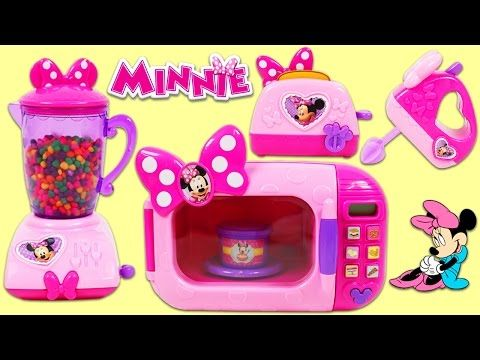 Minnie Mouse Kitchen Appliance Blender, Microwave, Toaster, and Mixer Toys!