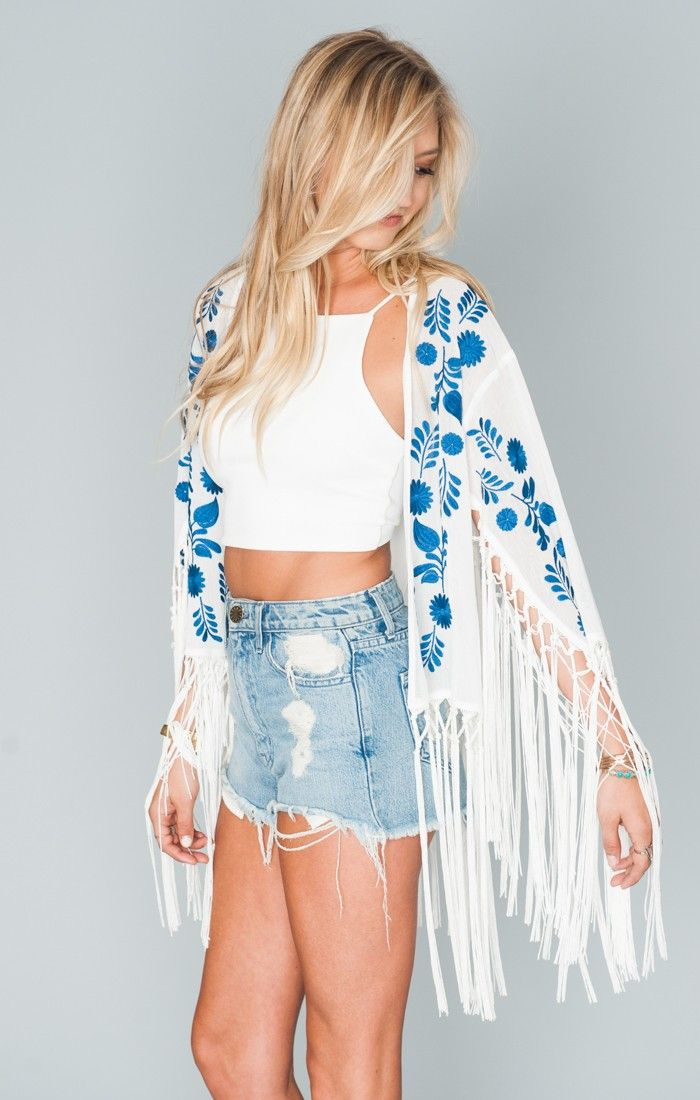 OMG, the Cascade Fringe Kimono is so freaking amazing! She has this flow to her that is just hypnotizing. Cutoffs look great with her. You can also throw on your skinny jeans or Bam Bam Bells with her and really take charge! Long pendants are also a must.   *Basically Wrinkle-proof.  Throw in purse for later recommended