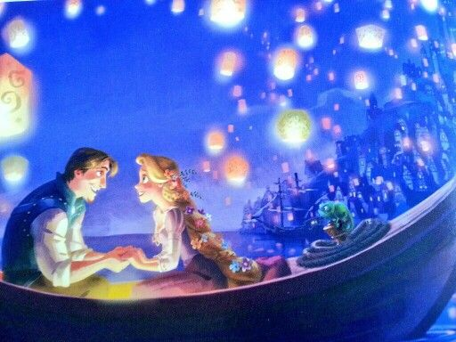 Beautiful artistic scene from Tangled storybook.