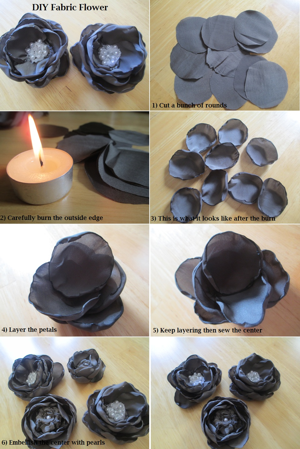 diy tutorial fabric flowers how to make satin fabric flower satin fabric fabric flowers and. Black Bedroom Furniture Sets. Home Design Ideas