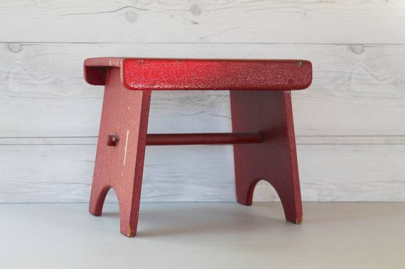 Prime Vintage Small Red Wood Stool Vintage Red Wooden Step Stool Uwap Interior Chair Design Uwaporg