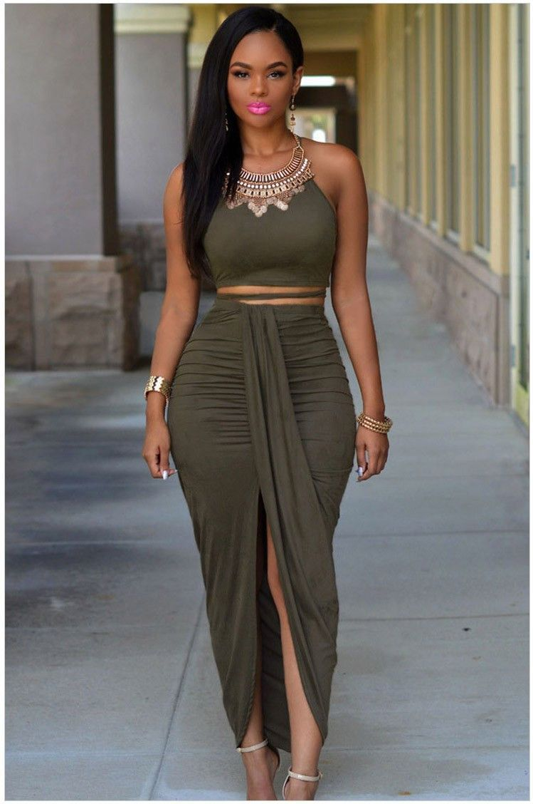 Summer Olive Green Suede 2 Piece Bandage Dress Fashion Outfits Fashion Chic Outfits [ 1128 x 749 Pixel ]