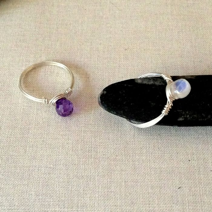 Elegant Wire Wrapped Ring with Gemstone Briolette Bead | Wire ...
