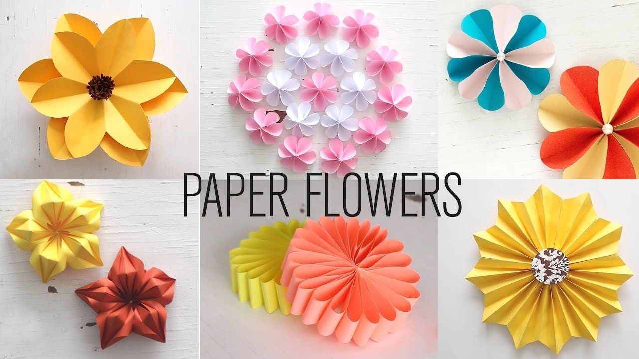 6 Easy Paper Flowers Flower Making Diy Youtube Paper Crafts