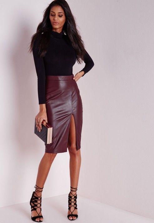 2a668e7249 Faux Leather Split Midi Skirt Burgundy - Midi - Skirts - Missguided ...