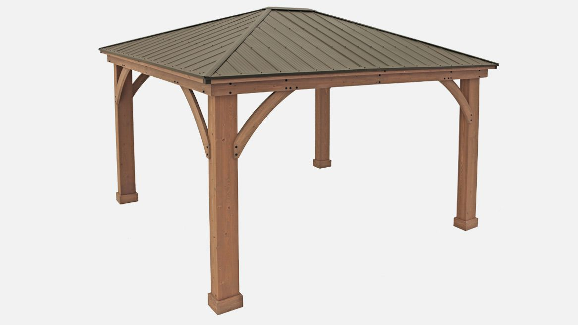 12 X 14 Wood Gazebo With Aluminium Roof In 2020 Aluminum Roof Gazebo Pergola