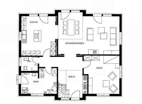 Grundriss erdgeschoss modernes landhaus von haacke haus for Skandinavisches haus bauen