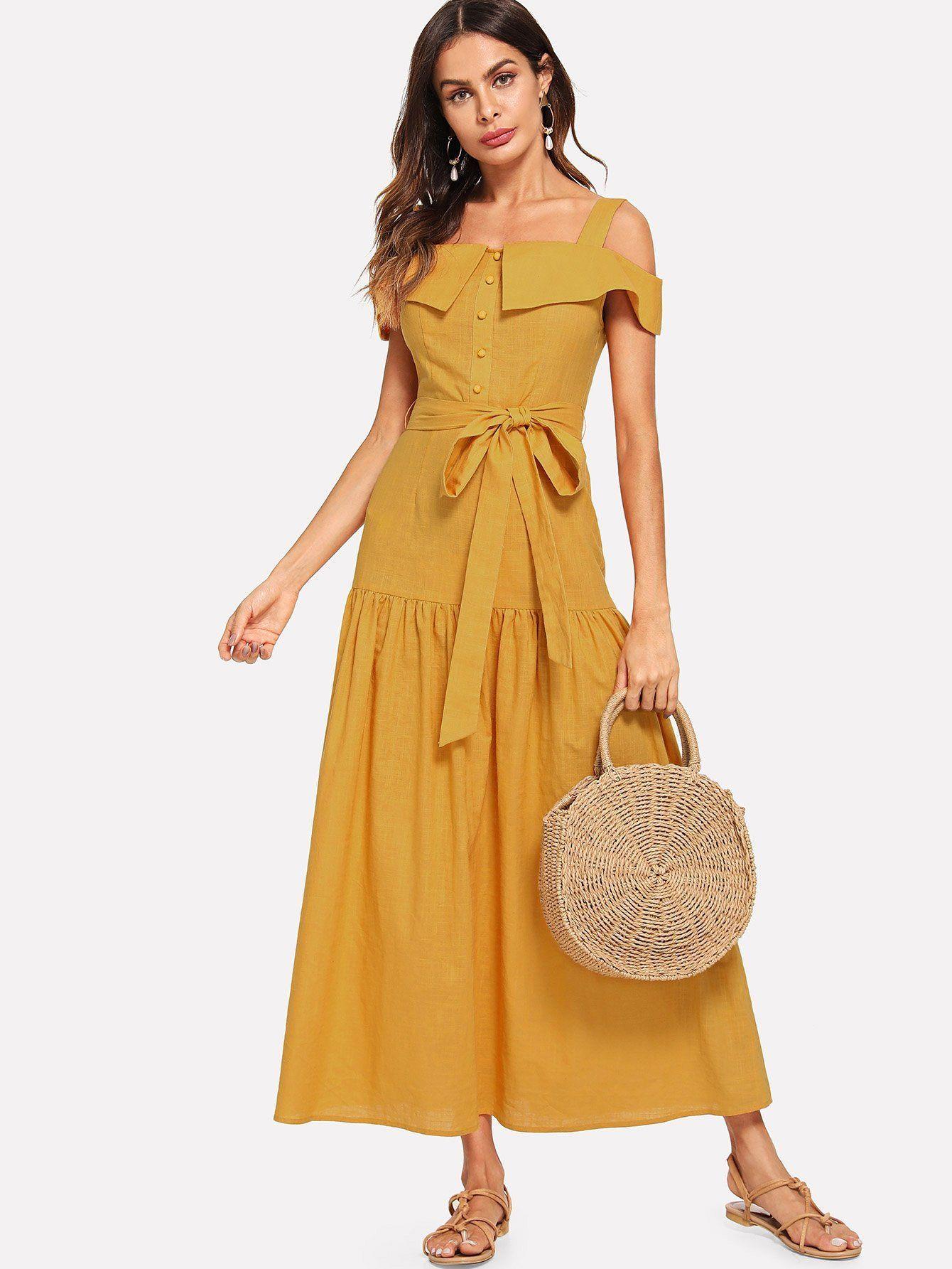 2a01e06580a cold shoulder foldover front self belted dress.  fashion  clothing  dresses