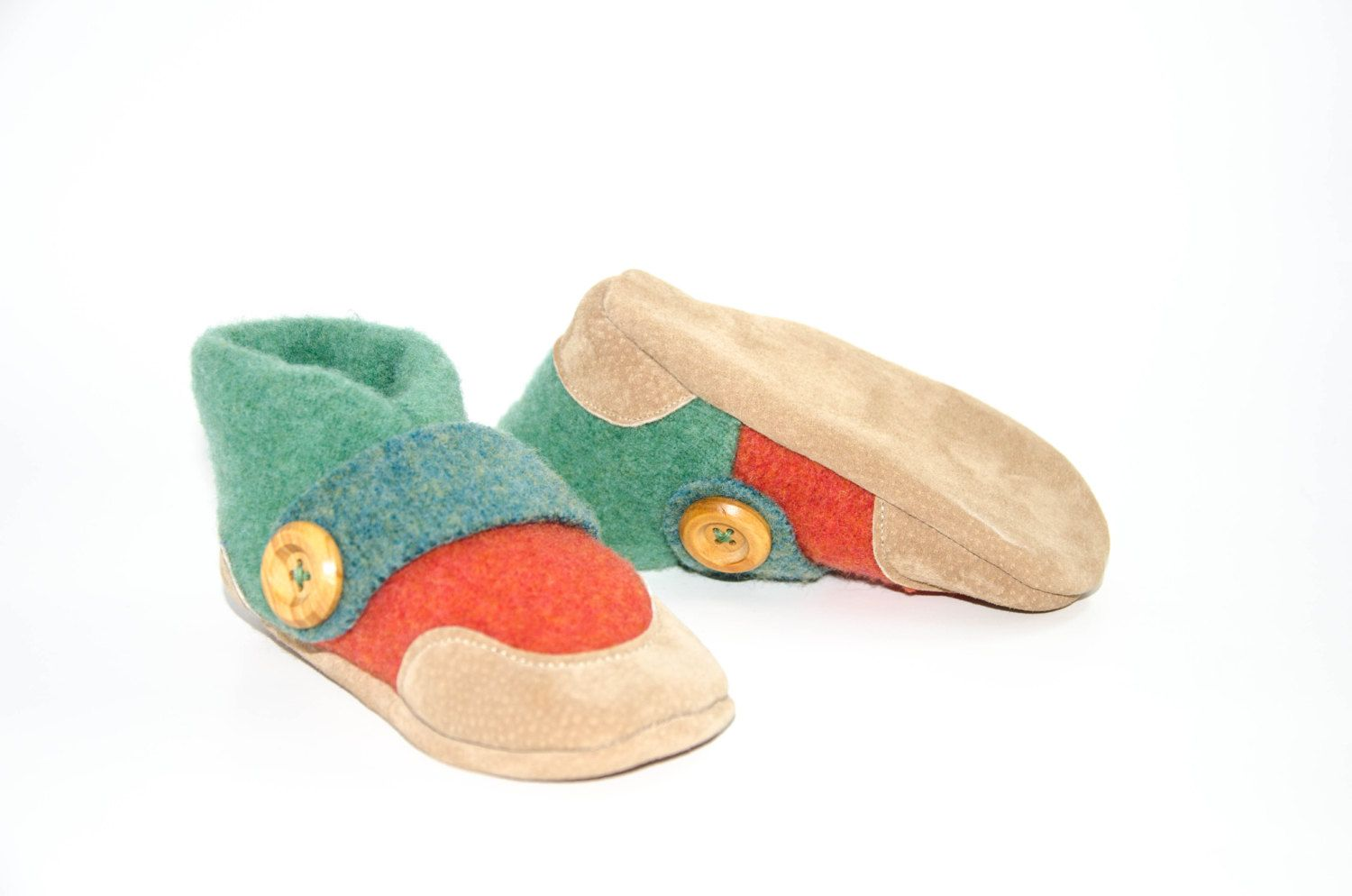 Kids Shoes, Toddler Slippers, from Recycled Wool & Non Slip Suede ...