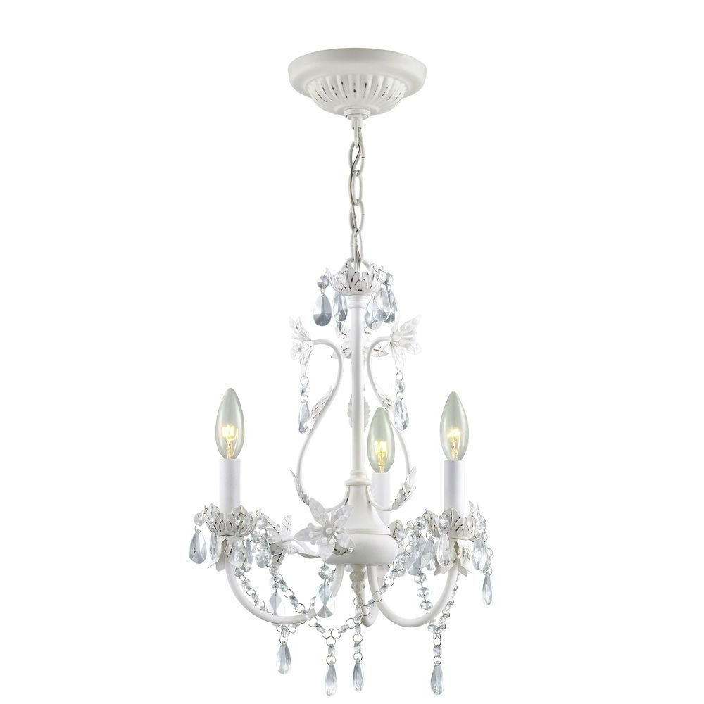 Small Chandeliers For Bedrooms Hampton Bay Kristin 3 Light Antique White Hanging Mini Chandelier