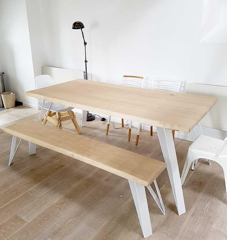 Fabriquez Votre Table Ou Bureau En Bois Massif De Chene Brut Blanchi Table Bois Massif Table A Manger Bois Brut Salle A Manger Bois