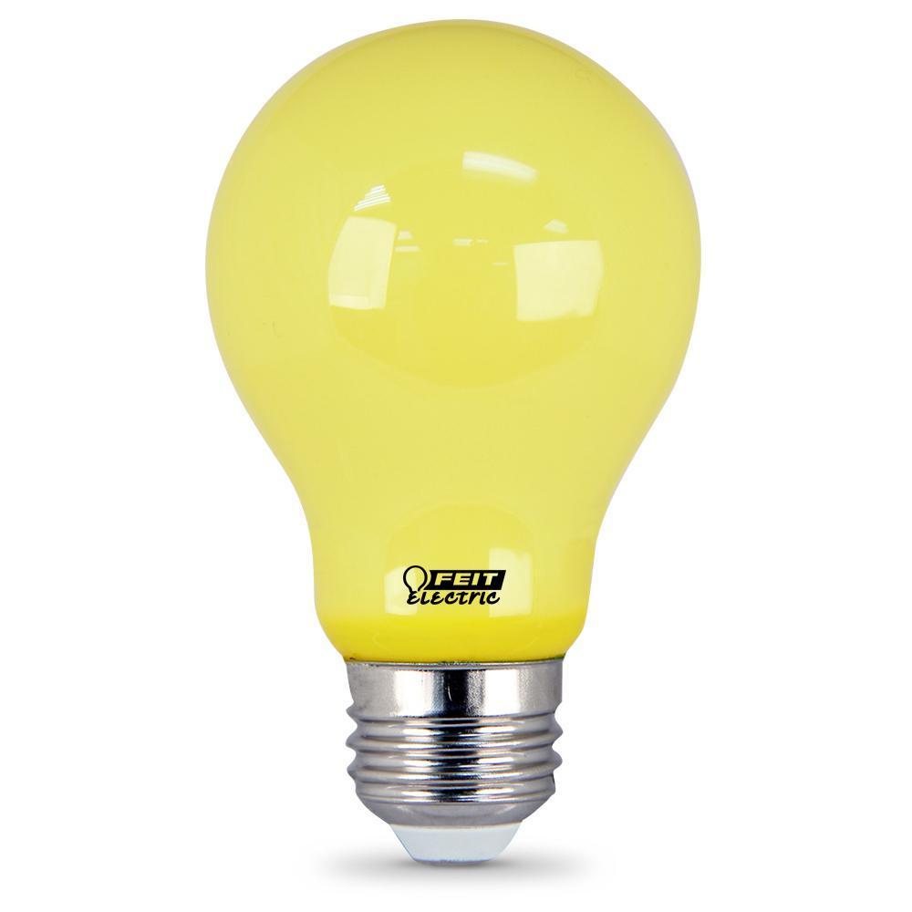 Feit Electric 60 Watt Equivalent A19 5 Watt Medium E26 Base Non Dimmable Yellow Colored Bug Led Light Bulb A19 Bug Led The Home Depot Light Bulb Led Light Bulb Bulb