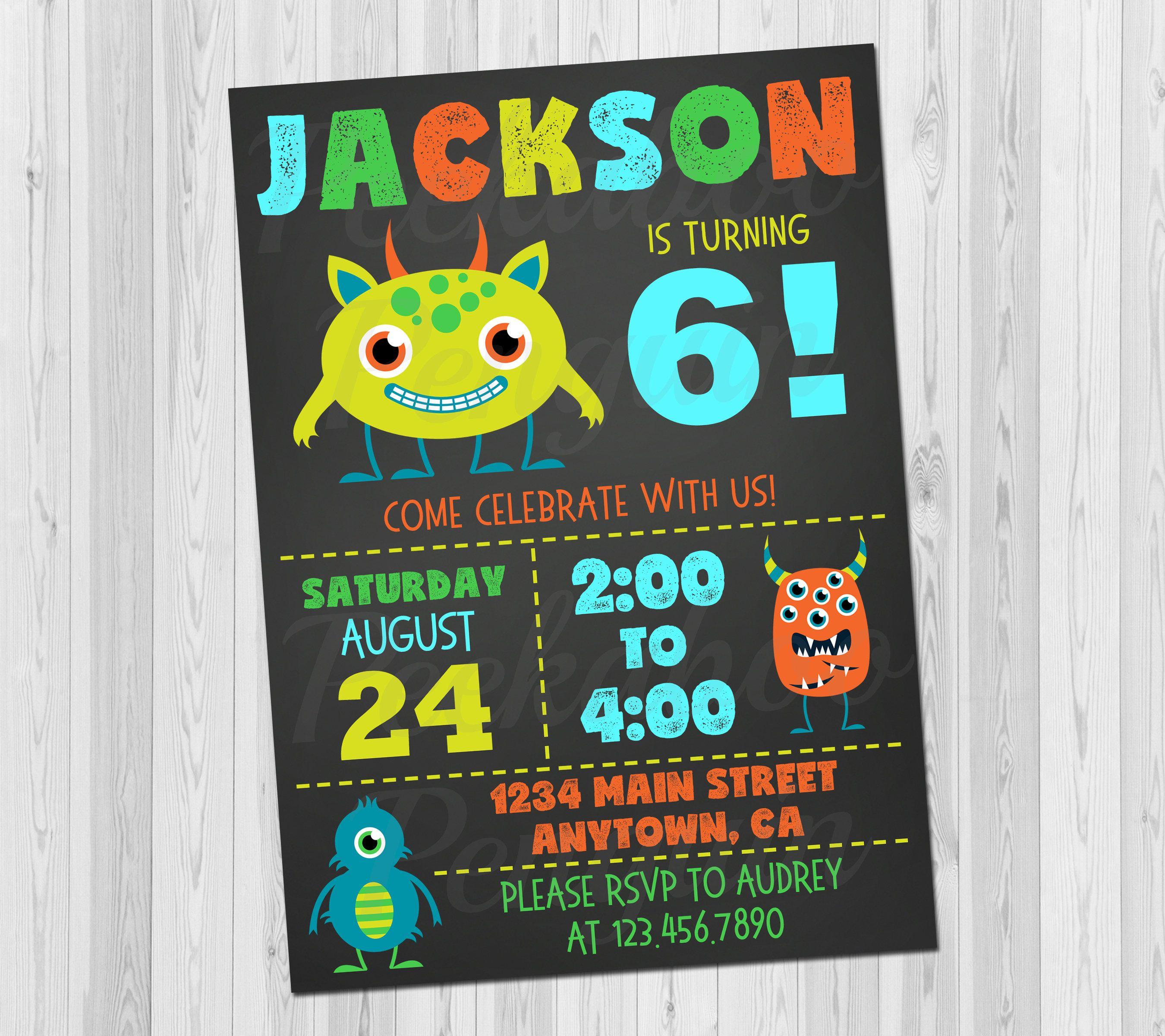 Monster Birthday Invitation, Kids Birthday Invitation Printable, Fun ...