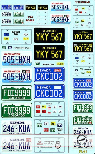 143 18 112 124 License Plate Decal Fo Tamiya Doyusha Monogram