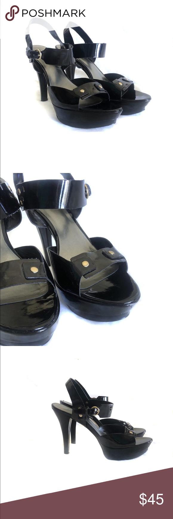 Nine West Black Patent Leather Platform Sandal 8 5 Leather Platform Sandals Black Patent Leather Black Patent
