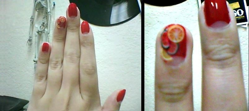 did my nail today they have lil watermelons and lemons : D I feel it fits well with summer