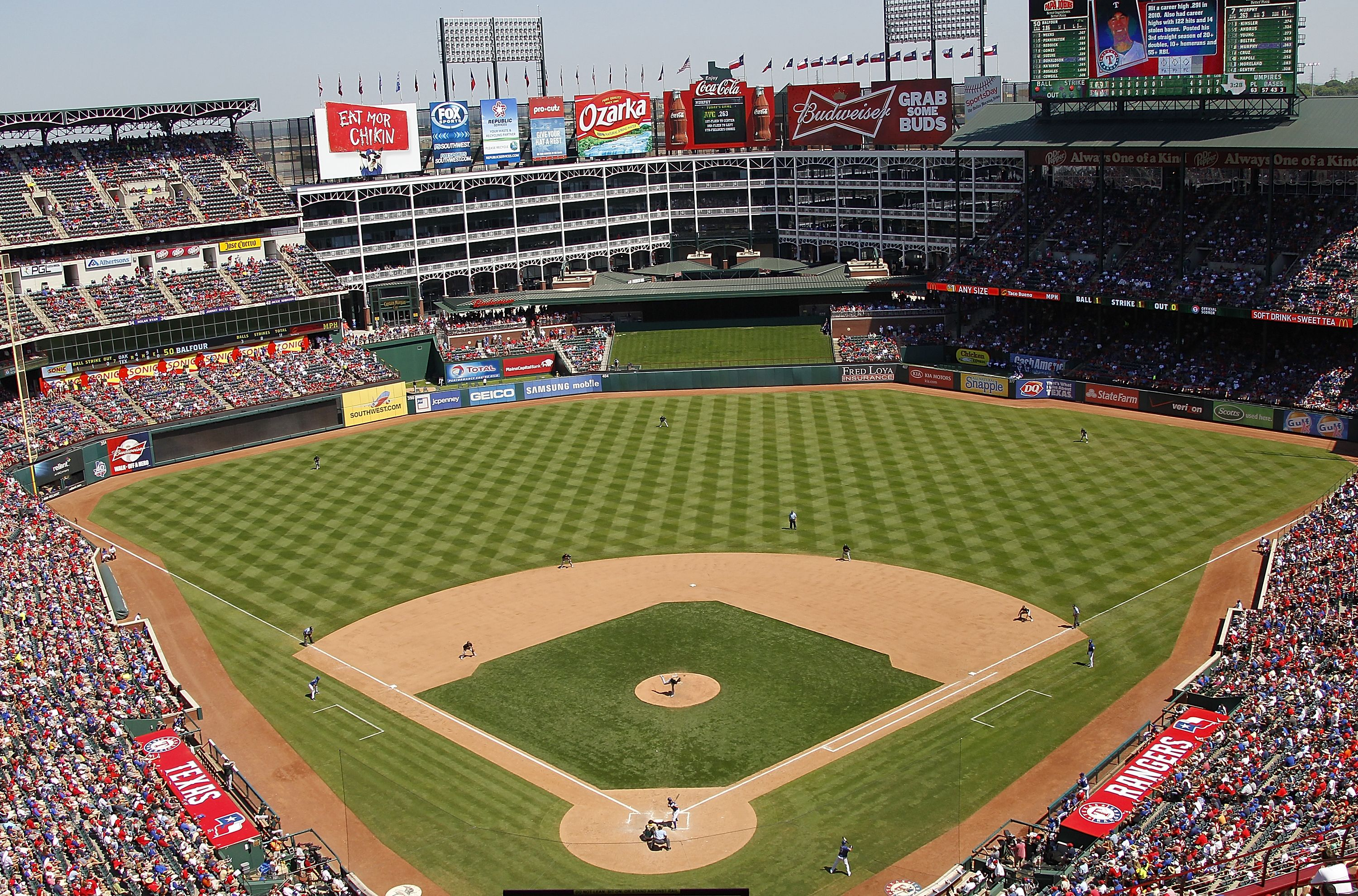 Globe Life Park In Arlington Home To The Texas Rangers My Home Away From Home And We Still Refer To It A Baseball Park Baseball Stadium Baseball Scoreboard