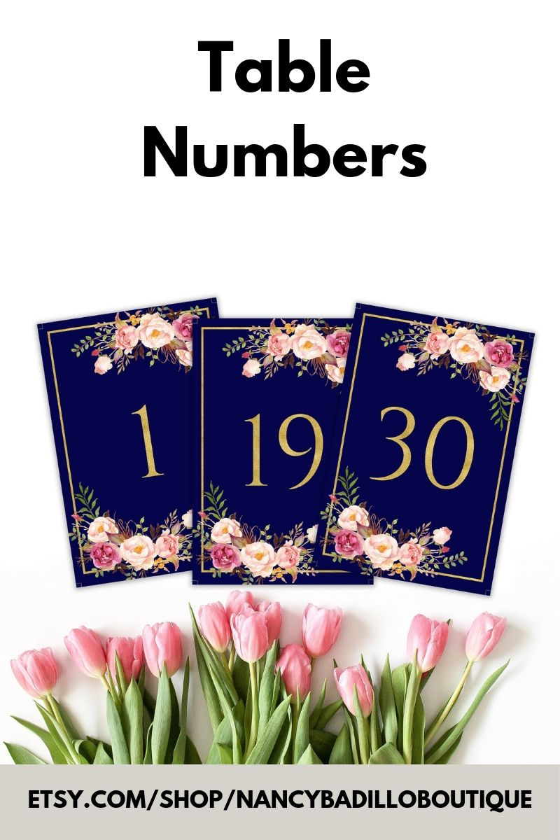 Navy table numbers boho table numbers tribal table numbers