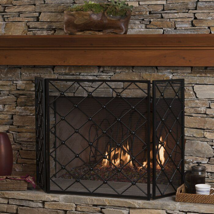 Prater 3 Panel Iron Fireplace Screen In 2020 Fireplace Fireplace Screens Fireplace Accessories
