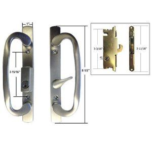 STB Sliding Glass Patio Door Handle Set With Mortise Lock, Brushed Chrome,  Keyed,