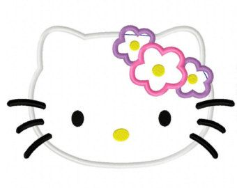Hair bow flower kitty applique embroidery design