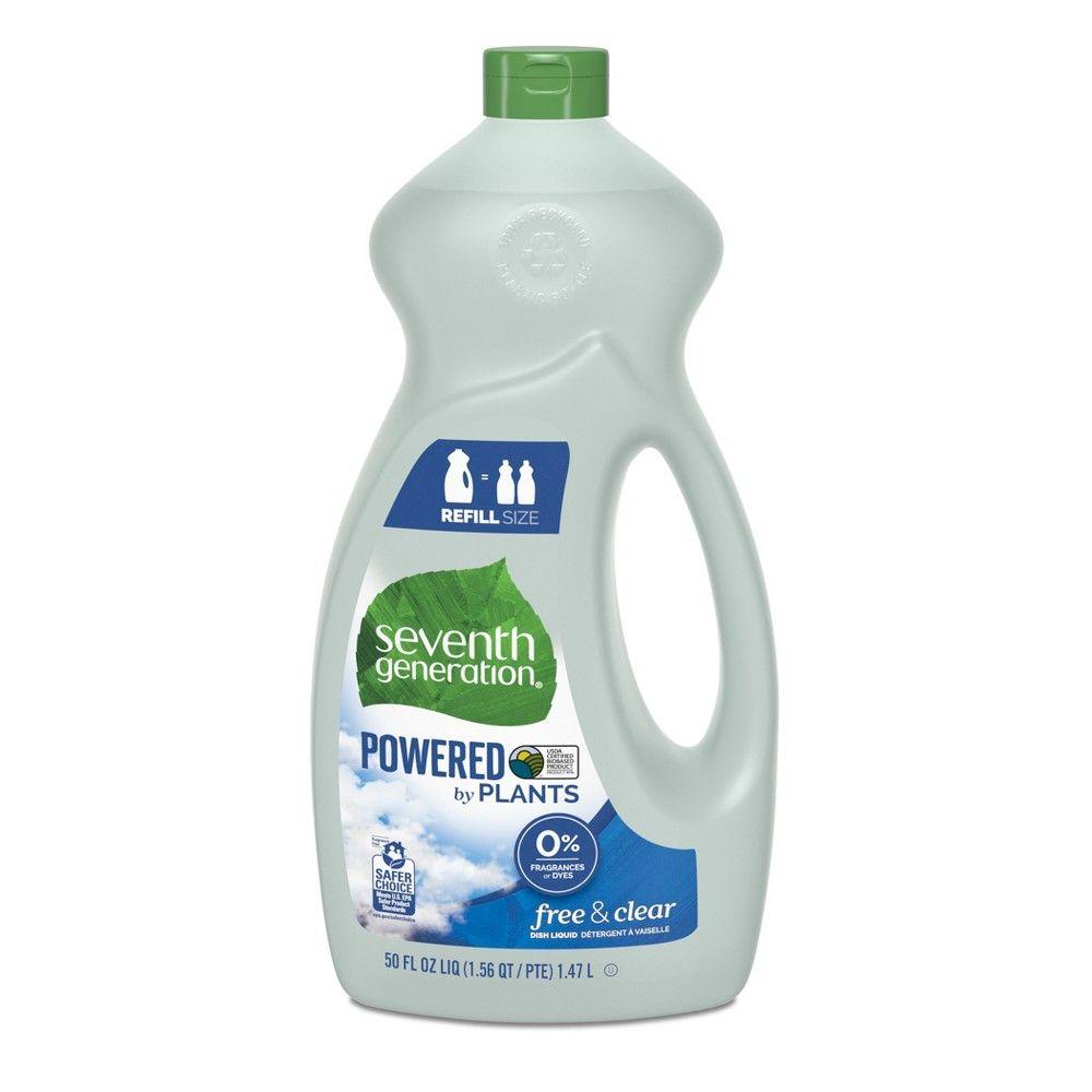 Seventh Generation Free Clear Liquid Dish Soap 50oz Adult