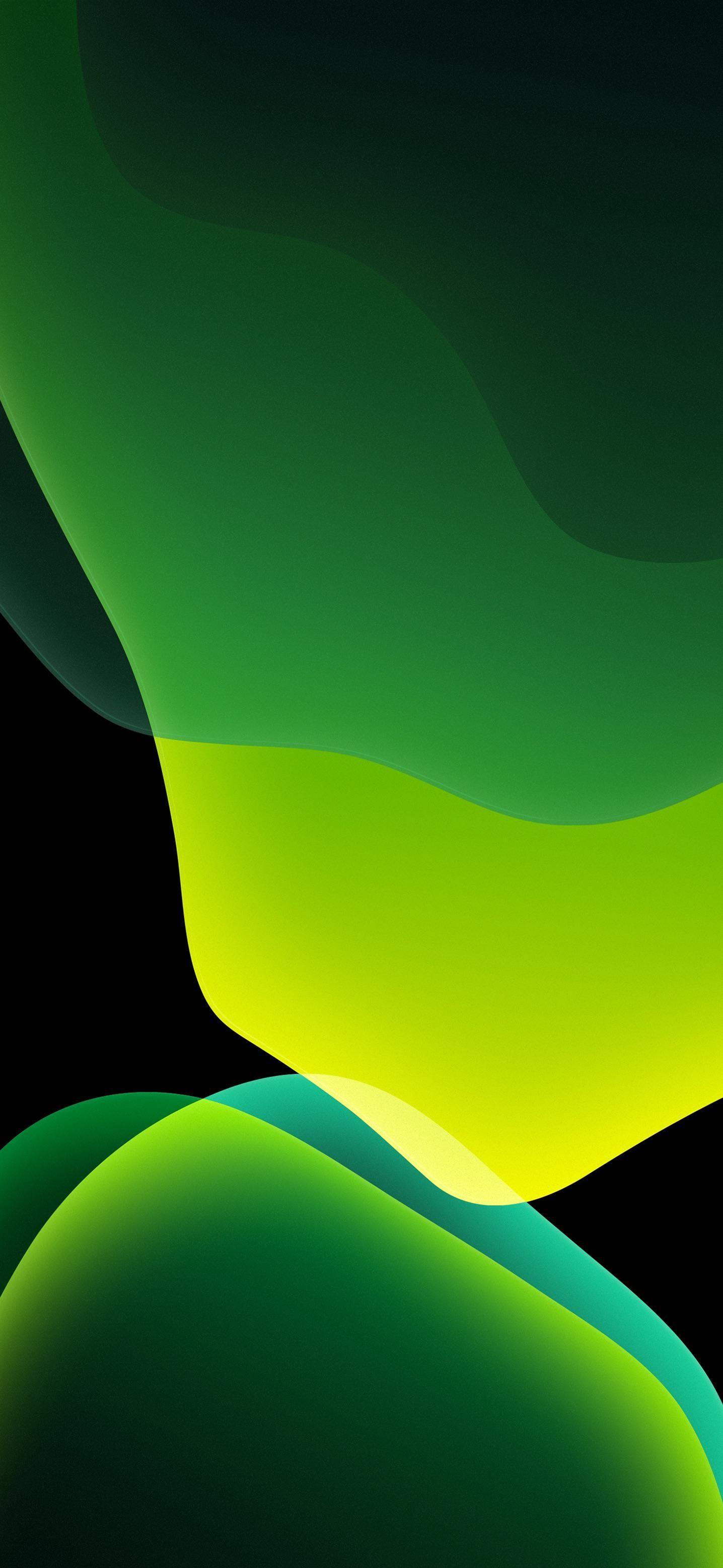 iOS 13, iPhone X, XS, XR, XS Max, green, black, dark
