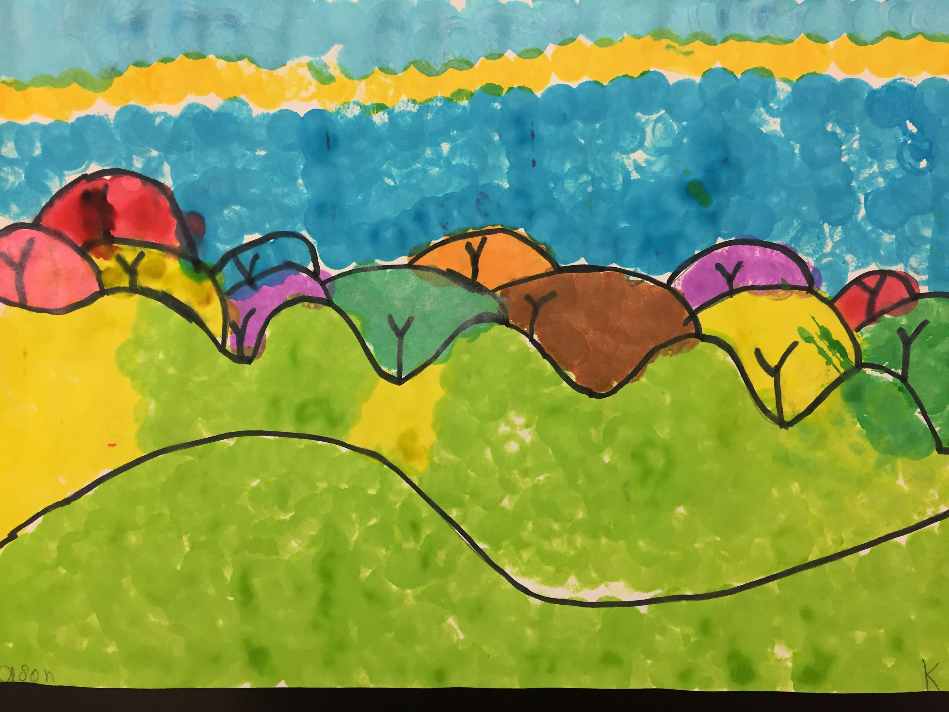 Kindergarten Landscape With Trees Students Were Asked To