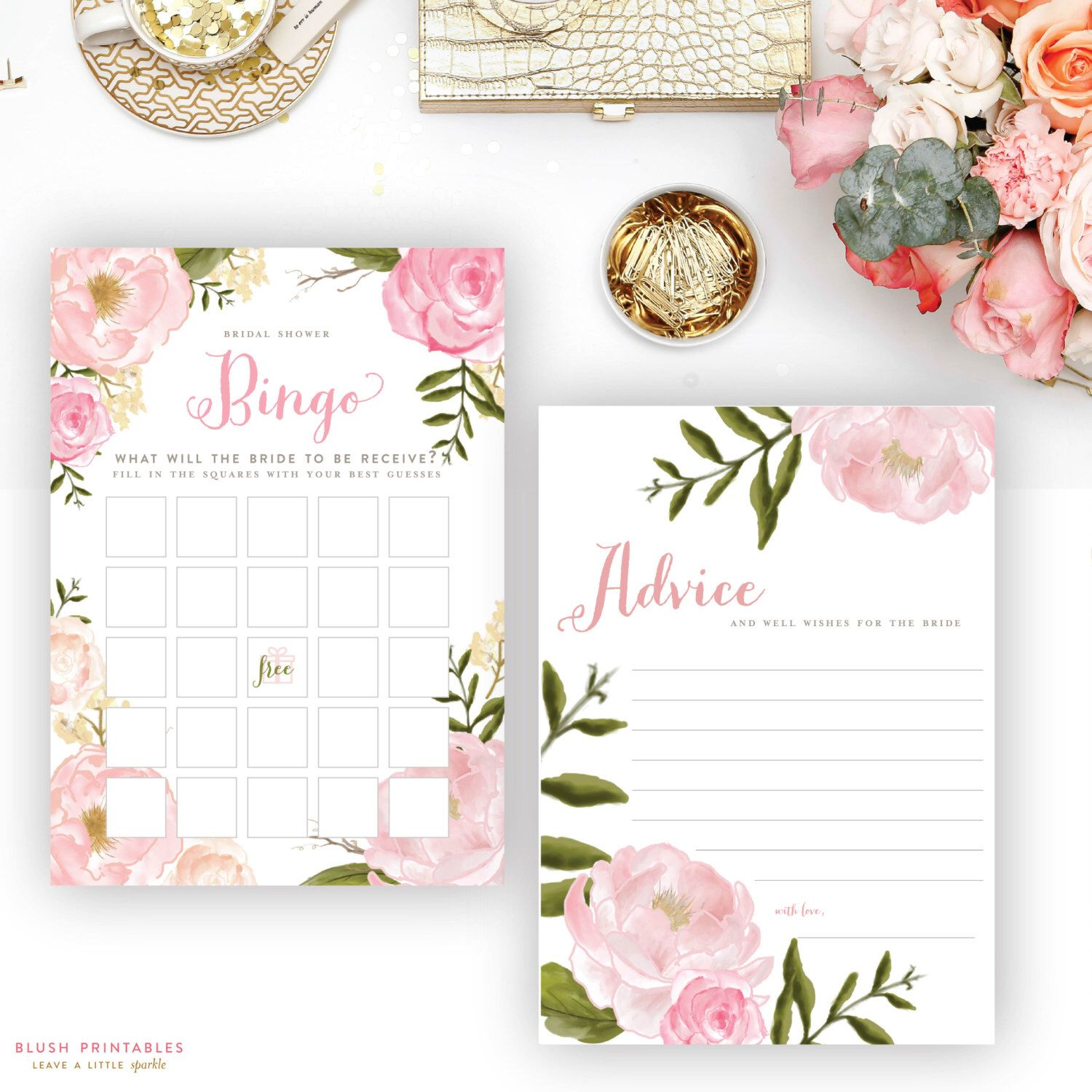Coordinate Your Entire Bridal Shower With Printable Floral Romantic Bridal Shower Games Bridal
