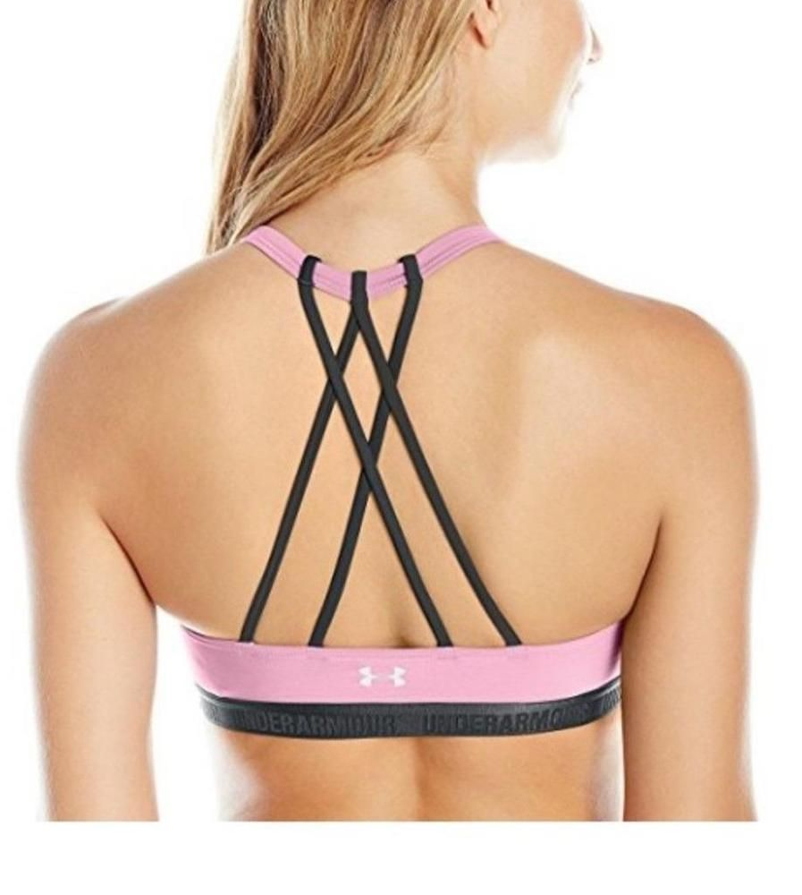 3a6d010d512 Under Armour Womens Strappy Sports Bra Pink Black XS S M 1289445-924   Underarmour