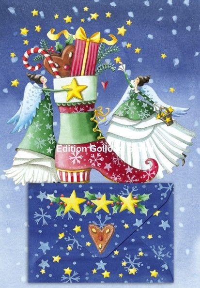 Weihnachtskarten Büro.Weihnachtskarte Engel Stiefel Geschenke Geldgeschenke Grußkarte