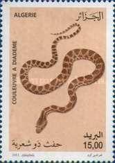 Diadem snake - Snakes. Algerian  stamp, circa 2011