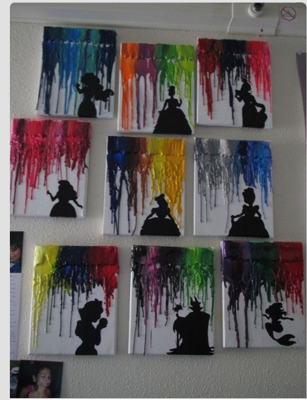 melted wax crayons and Disney